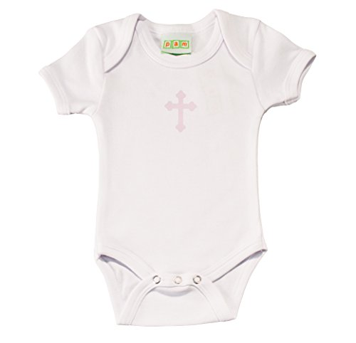 (Pam GM Baby Bodysuit with Pink Cross Print (Baptism/Christening Bodysuit))