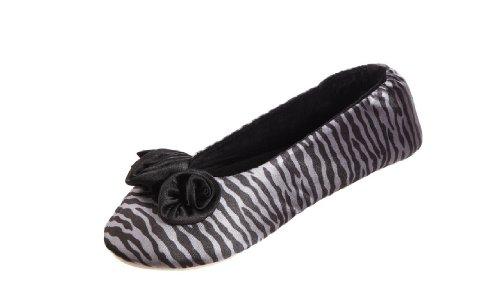 Isotoner Kvinna Rosett Satin Ballerina Toffel Blac Zebra