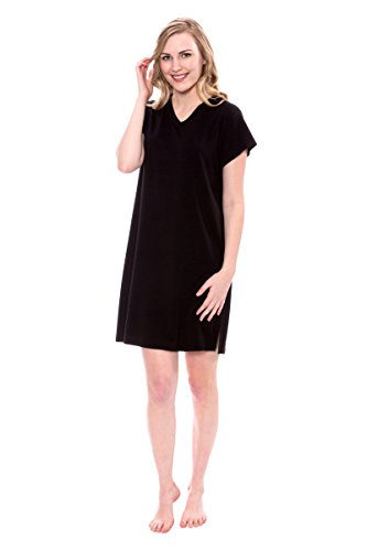 TexereSilk Women's Nightwear V-Neck Sleep Shirt - Sleepwear Nightshirt For Women (Black, 3X) Christmas Present Ideas For Women