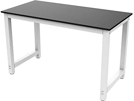 Yaheetech 47 Inches Computer Desk Writing Table for Home and Office, PC Laptop Office Table, Workstation Study Writing Modern Desk, Modern Simple Dining Table, Wood Top and Metal Legs, Black