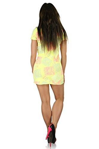 fashion house - Vestido - Manga corta - para mujer amarillo