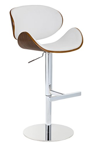 Wood Veneer Curved Barstool in White