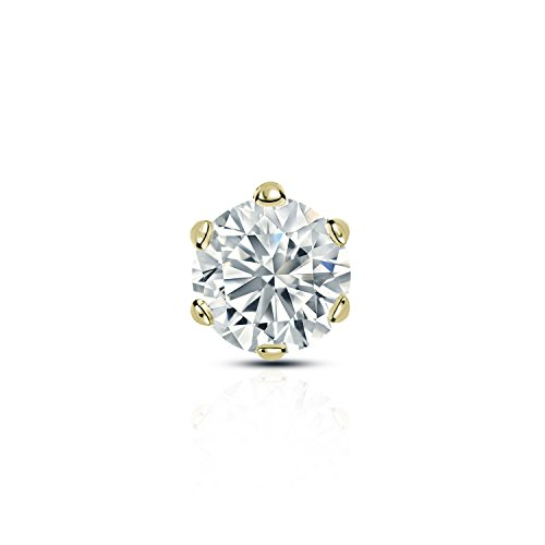 Diamond Wish 14k Yellow Gold Single Stud Round Diamond Earring (3/8 carat TW, O. White, I2-I3) 6-Prong Basket, Screw-Back ()