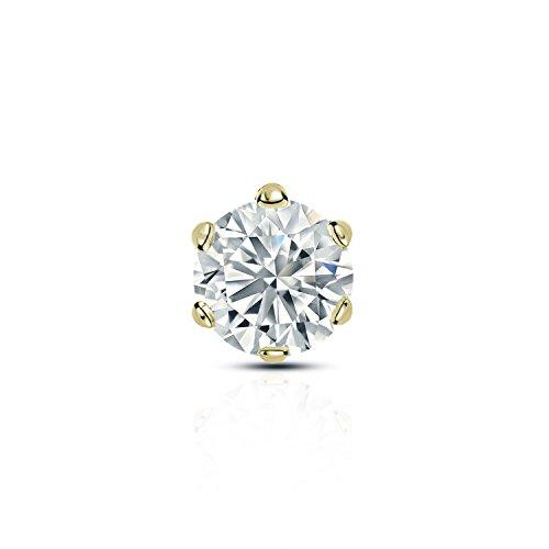 Diamond Wish 14k Yellow Gold Single Stud Round Diamond Earring (3/8 carat TW, O. White, I2-I3) 6-Prong Basket, Screw-Back