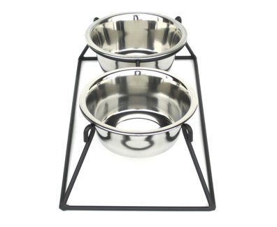 Pyramid Double Bowl Elevated Diner - 12'' - Raised Feeder