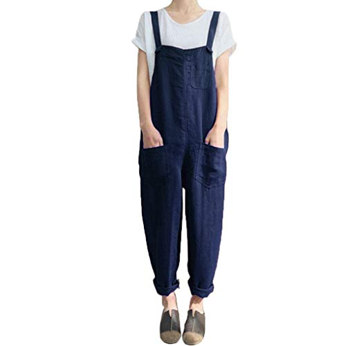 Women Cargo Sleeveless Dungarees Loose Cotton Linen Long Playsuit Party Jumpsuit Navy ()