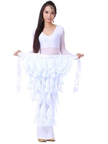Fox Dance Costume (Dance Fairy Chiffon Fox Belly dance Leaf Skirt Hip Scarf costumes,White)