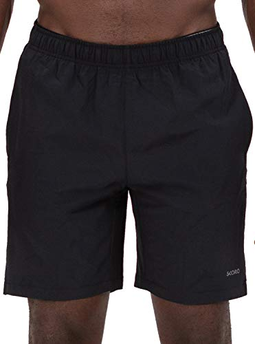 (Skora Men's Two in One and Unlined Athletic Running Shorts with Pockets and Zip Back Pocket (Black, Large))