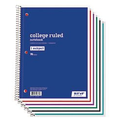 70 Sheet Notebook (Just Basics(R) Spiral Notebook, 7 1/2in. x 10 1/2in., 1 Subject, College Ruled, 70 Sheets, Assorted Colors)