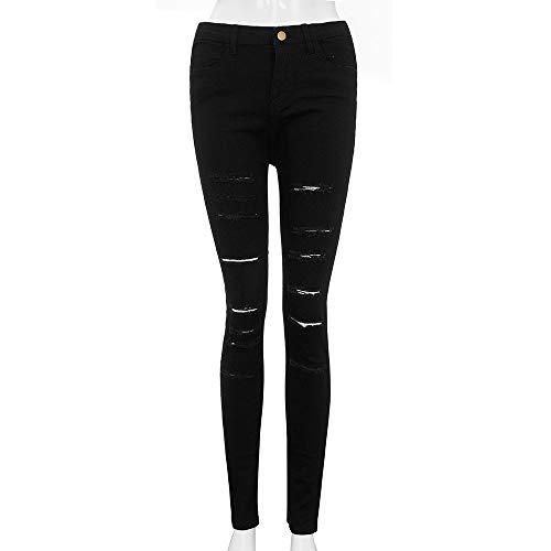 Mujer Longra✿✿ Talle Pantalones Jeans Denim Diseño Mujer Delgados cagados Negro Pitillo Pitillo de Stretch único para Pantalones Medio cvpt7rvW