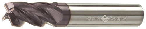 Cobra Carbide 19802 Micro Grain Solid Carbide Regular Length Hi-Performance End Mill, AlTiN Coated, 4 Flute, 32-38 Degrees Helix, Square End, 5/8