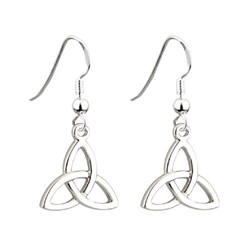 Tara Trinity Knot Earrings Rhodium Plated Drop Made in Ireland