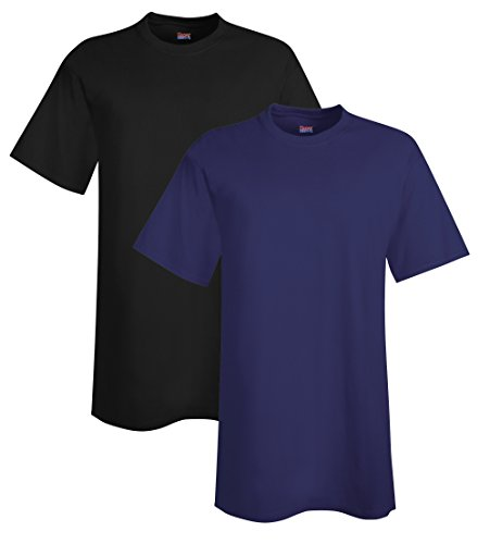 Hanes Men's Tall Short Sleeve Beefy-T (Pack of 2), 3XLT, 1 Black / 1 Navy for $<!--$18.67-->