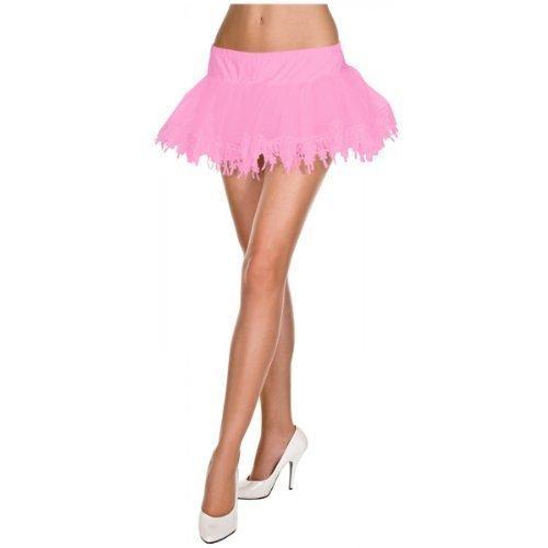 MUSIC LEGS Women's Tear Drop Lace Net Petticoat, Pink, One ()