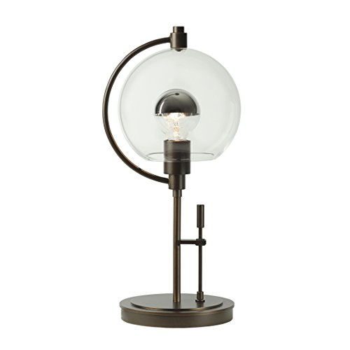 (Hubbardton Forge 274120-1026 Pluto Table Lamp, Opal Glass Shade Natural Iron Finish)