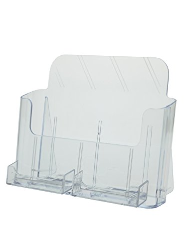 Marketing Holders Clear Counter top Brochure Holder for 8.5 x 11 Literature with 2 Business Card Holders