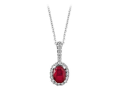 Pendentif Rubis Oval et Diamants-Femme- or Blanc 207P0029