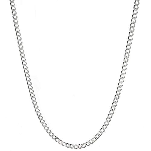 YFN White Gold Plated Mens Sterling Silver Cuban Curb Link Chain Necklace for Women (24, 3mm) ()