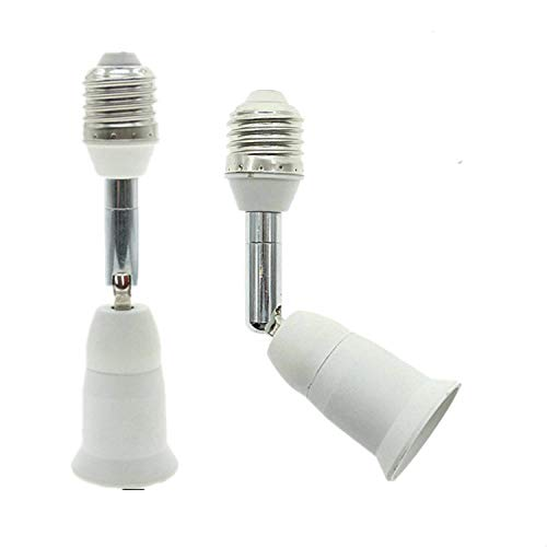 E26/E27 Light Socket Extender, 4.5 Inch Extension ,Adjustable Vertical 90°Horizontal 360°, 100V - 250V, Max 150W, Medium Screw Base Light Converter Socket Extender,2-Pack ()