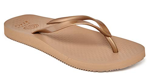 Vioinc Women's Beach Noosa Flip-Flop Sandal - Ladies Thong Sandals Concealed Orthotic Arch Support Bronze 6 M US