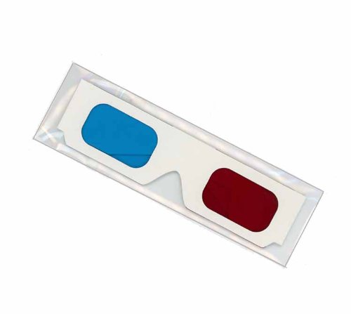 3D Glasses - Red and BLUE Anaglyph 1 Pair white cardboard frames