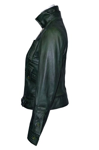 SUPERMODEL Ladies PURPLE GREEN Rock Biker Style Designer Real Nappa Leather Jacket at Amazon Womens Coats Shop