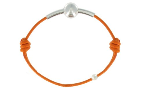 Les Poulettes Bijoux - Bracelet Lien Bulle Argent Lien Orange