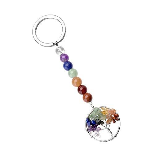 (PESOENTH 7 Chakra Gemstone Bead Silver Tree of Life Charm Pendant Keychain Keyring for Women Girls)
