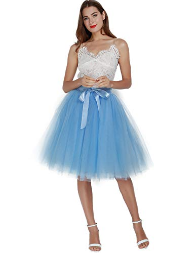 Women's High Waist Pleated Princess A Line Midi/Knee Length Tutu Tulle Skirt for Prom Party (Plus Size, Lake Blue)