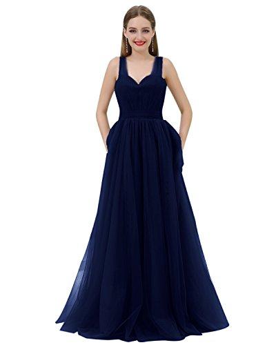 Cuteshe Longue Robes De Demoiselle D'honneur Bretelles Tulle Femmes Bleu Marine Formelle Robe De Soirée