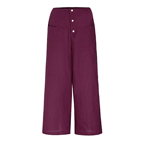 JOFOW Wide Leg Pants Womens Casual Linen Solid Loose Long High Waist Buttons Fashion Workwear Pajamas Bottoms Gift Trousers (XL,Wine) -