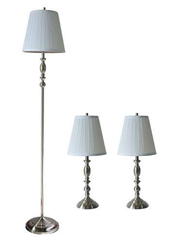 (Urbanest Eleanor 3-Piece Table and Floor Lamp Set Brushed Nickel with Off White Pleated Shades)