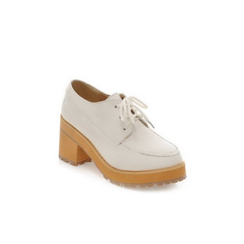 Closed Pumps Material Womans Soft 5 Heel VogueZone009 Solid Toe Kitten UK White Pointed Round 5 Toe with Bandage PU RSqnqw1xAC