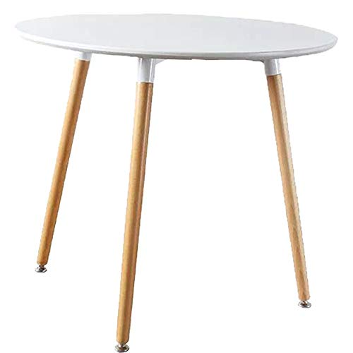 Kitchen Dining Table Modern Round Coffee Table,Dining Table White Round Table with Wood Legs for Kitchen Living Room Leisure Table ZeZe Chair(31.531.5
