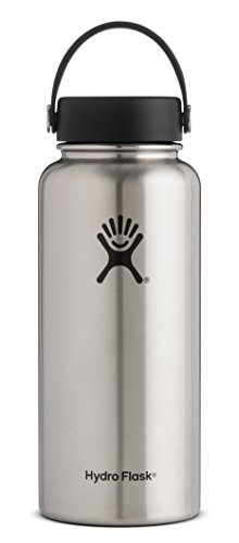 Hydro Flask 64 oz Vacuum Insulated Stainless Steel Water Bottle, Wide Mouth w/Flex Cap, Stainless
