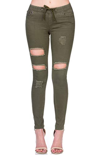 (Monkey Ride Jeans Women's Casual Drawstring Destroyed Jeans Skinny Denim 7, Olive)