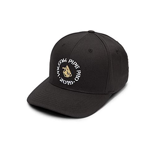 Pipe And Hat (Volcom Men's Parrillo Six Panel Xfit Flex Fit Hat, black, LARGE/EXTRA)
