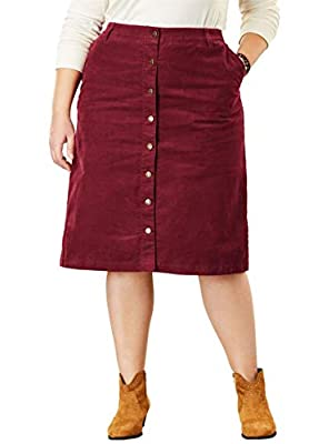 Woman Within Plus Size Button-Front Corduroy Skirt