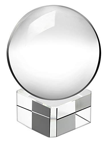 The Paragon Clear Crystal Sphere Ball and Stand - Petite Figurine Meditation Ball Globe with Free Crystal Stand for Home and Office Decor