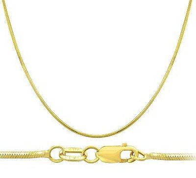 Snake Chain 14k Yellow Gold Necklace Solid Mens Womens 1 mm , 16 inch 14k Yellow Snake Chain