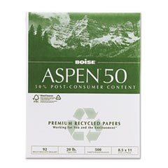 ** ASPEN 50% Recycled Office Paper, 92 Bright, 20lb, 8-1/2 x 11, White, 5000/CT **