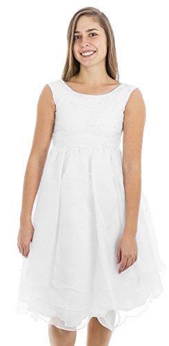 White Sleeveless Embroidered Organza Communion Dress with Pearled Accented Bodice - Size 6 by Swea Pea & Lilli