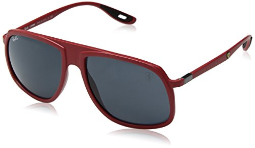 Ray-Ban Men's RB4308M Scuderia Ferrari Collection Square Sunglasses, Matte Red/Grey, 58 ()