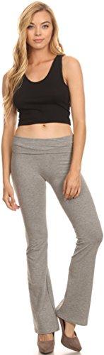 Lycra Pantalons unis Aux Gris États Coton Bruyère Pilates Avec Repliable Sakkas Mélange Taille Yoga Fabriqué wFx17d8R