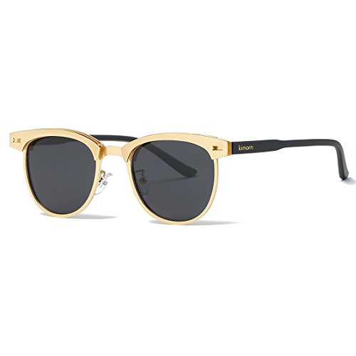 Kimorn Polarized Sunglasses Semi-Rimless Metal Frame Classic Sun Glasses K0558 - Black Gold Sunglasses