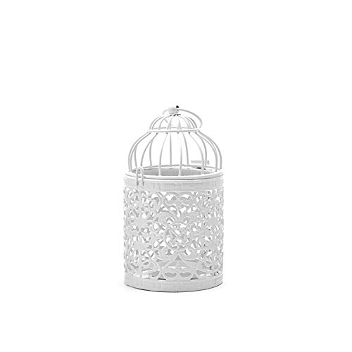Price comparison product image JAGENIE Candlestick, Hollow Holder Candlestick Tealight Hanging Lantern Bird Cage Vintage Wrought NewWhite