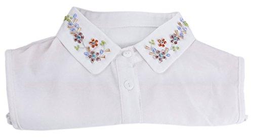 Ababalaya Women's Detachable False Collar Shirt with Imitated Pearl Rhinestones,16110White