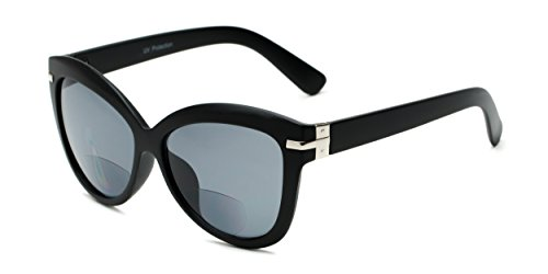 Readers.com The Ophelia Bifocal Sun Reader +2.00 Matte Black with Smoke Thick-Framed Oversized Reading Sunglass with Bifocals Cat Eye Reading - Framed Men For Thick Glasses