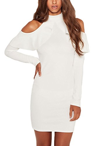 Annflat Women's Ruffle Cold Shoulder Long Sleeve Cocktail Party Dress Large White