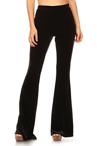 Women's Regular and Plus Size Bell Bottom Velvet Elastic Palazzo Wide Leg Pants MADE IN USA (3XL, Black) -